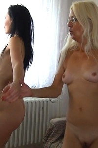 Old and young lesbians partying and getting into naughty mood