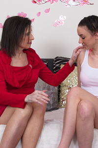 Horny old and young lesbian couple playing with eachother